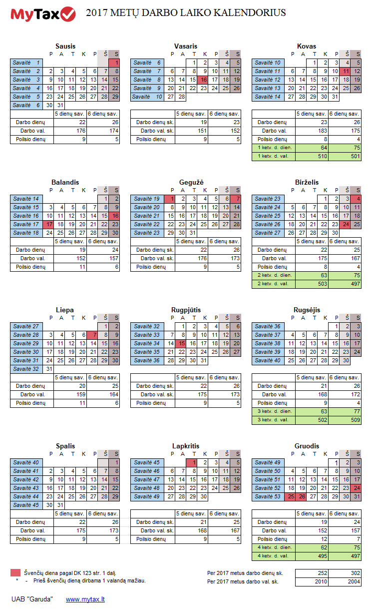 2017 metų darbo laiko kalendorius
