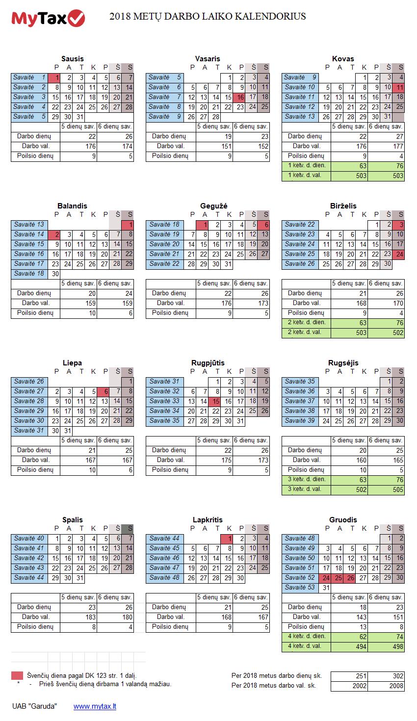 2018 metų darbo kalendorius