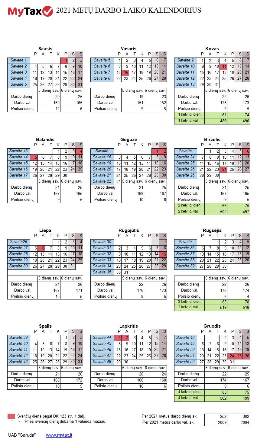 2021 metų darbo laiko kalendorius